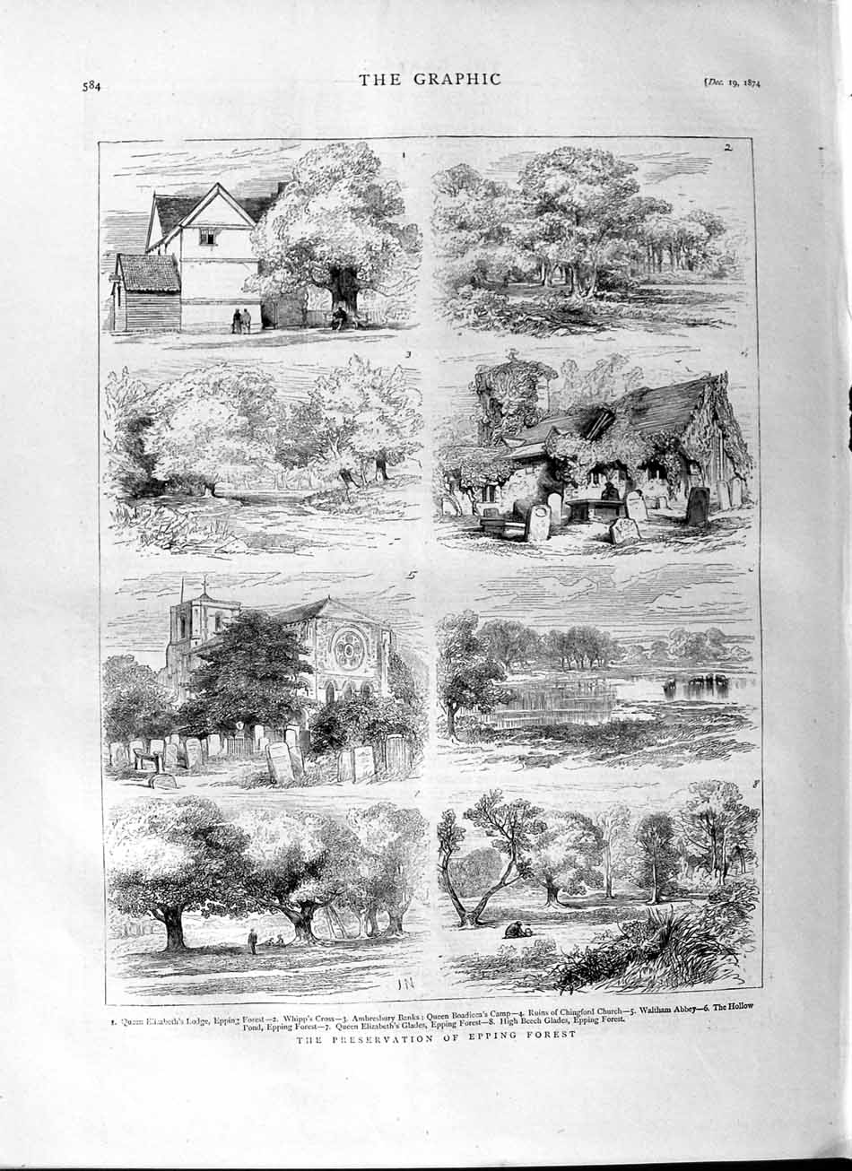 [Print 1874 Preservation Epping Forest Chingford Church Trees Old Original]