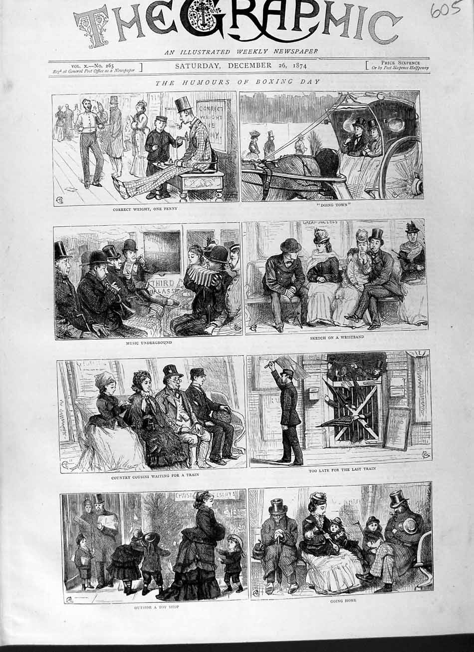 [Print 1874 Boxing Day Comedy Sport Railway Train Carriage 605M110 Old Original]