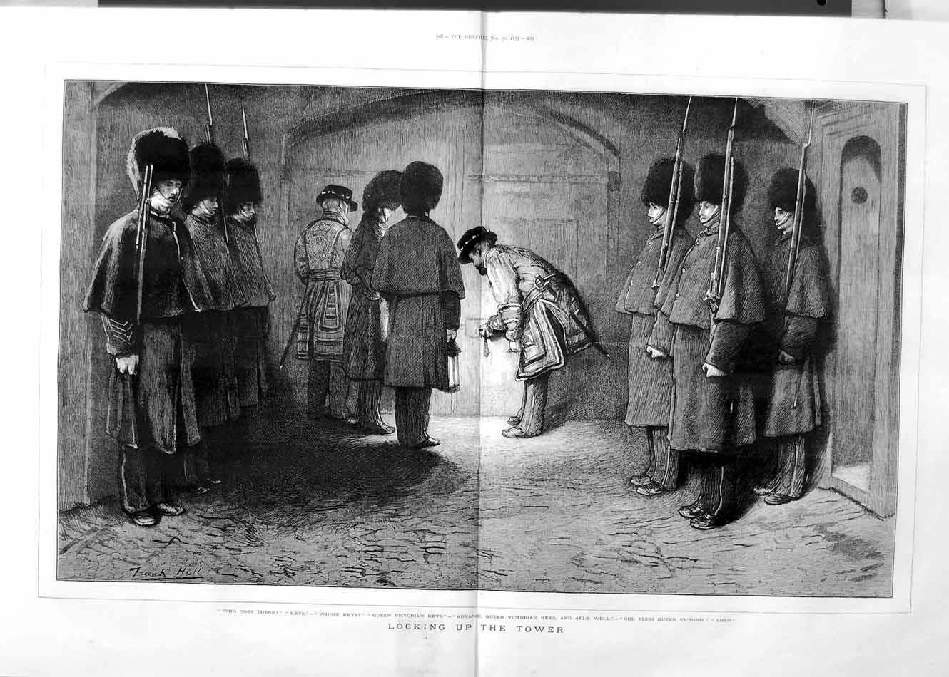 [Print 1875 Locking Tower London Queen Victoria Keys Guards 107Tm111 Old Original]