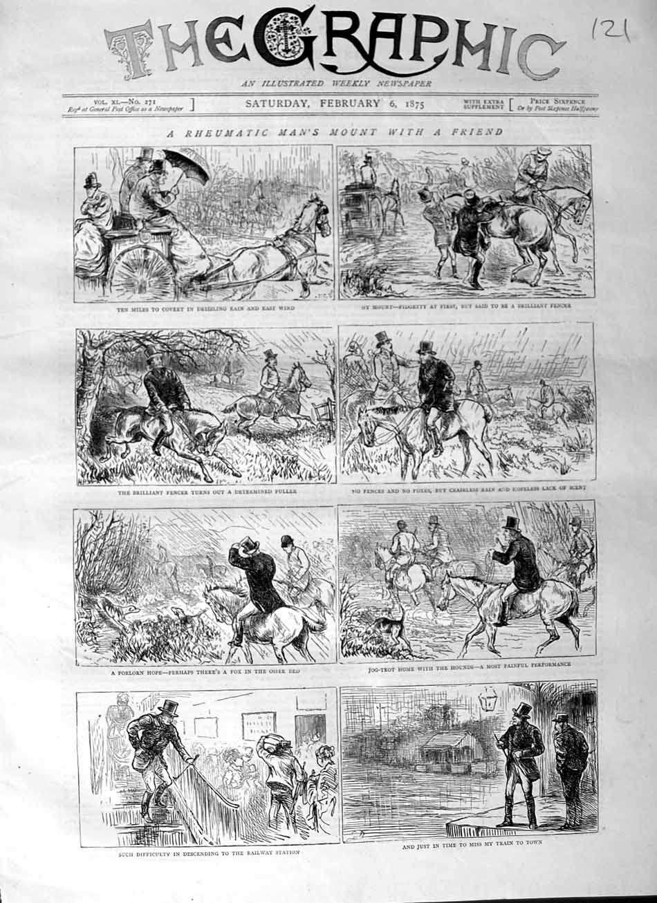 [Print 1875 Horses Carriage Sport Jumping Railway Train 121M111 Old Original]