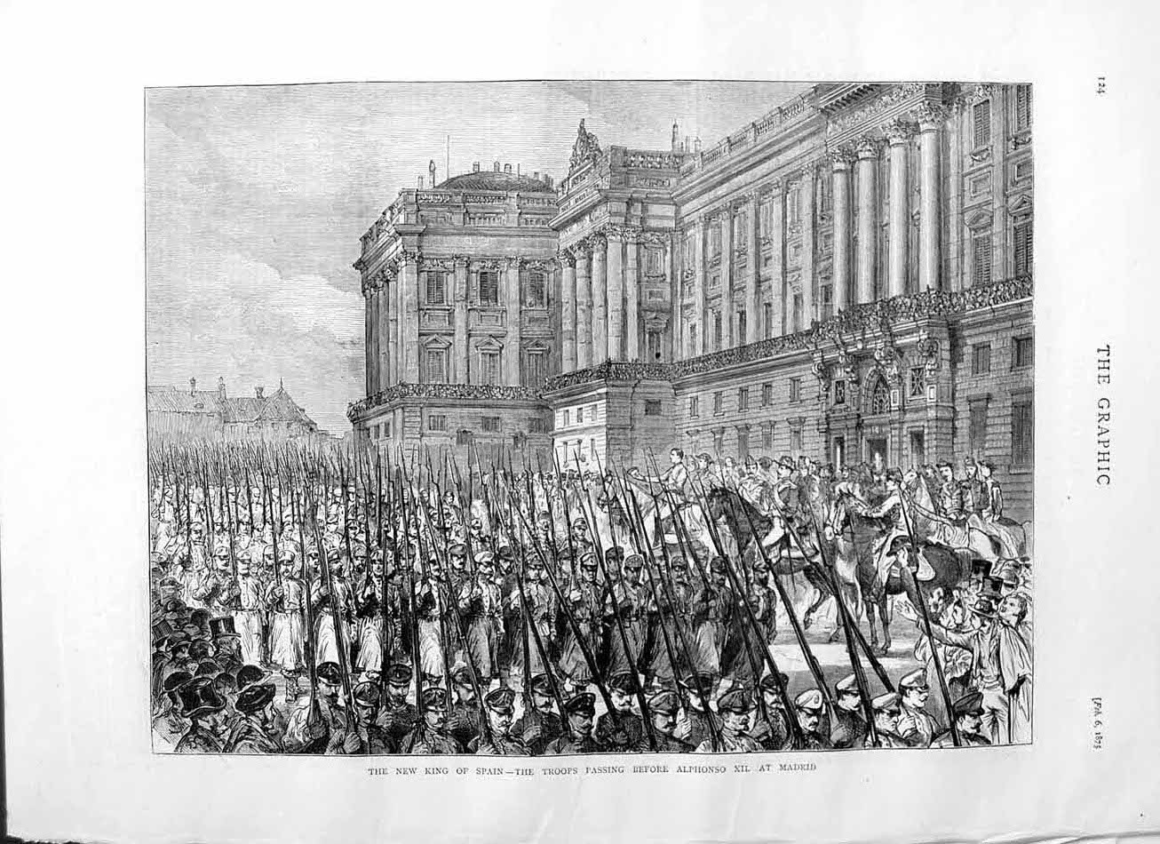 [Print 1875 King Spain Soldiers Alphonso Madrid Horses Guns 124M111 Old Original]