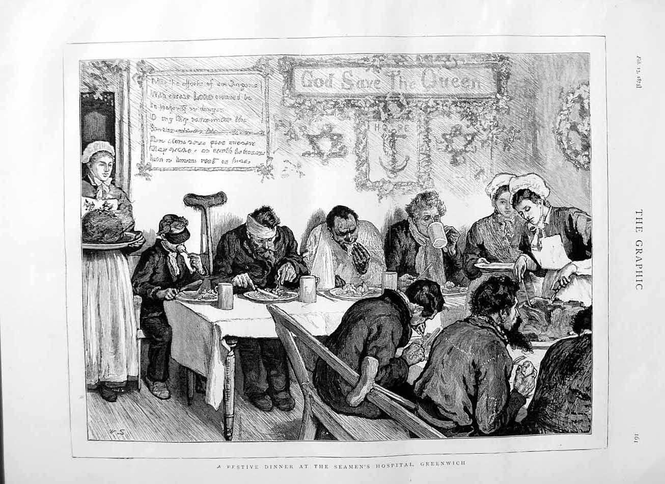 [Print 1875 Festive Dinner Seaman'S Hospital Greenwich Nurse  Old Original]
