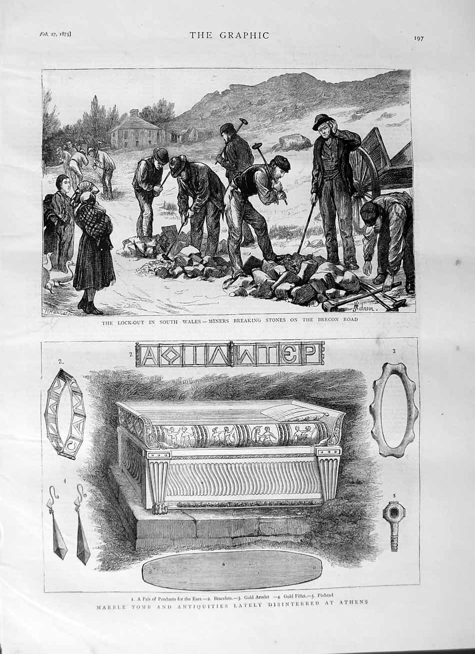 [Print 1875 Wales Brecon Lock-Out Tomb Athens Archaeology  Old Original]