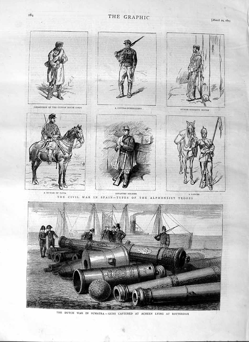 [Print 1875 Dutch War Sumatra Guns Rotterdam Civil War Spain Old Original]