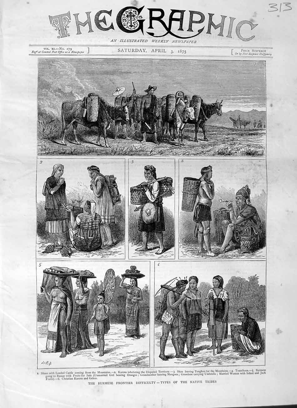 [Print 1875 Burmese Frontier Types Native Tribes Shaus Tonghoo 313M111 Old Original]