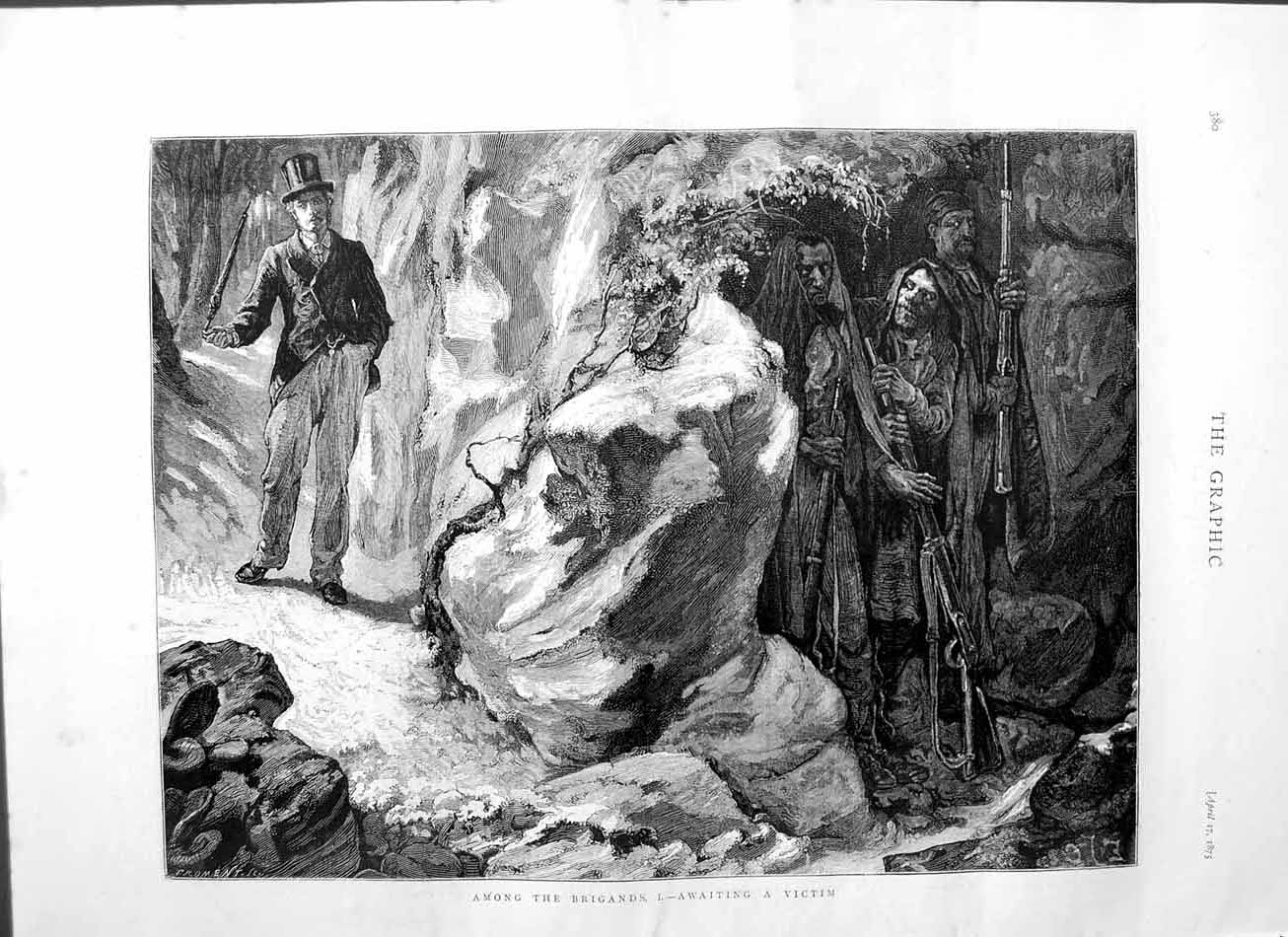 [Print 1875 Brigands Man Top-Hat Soldiers Weapons Mountains 380M111 Old Original]
