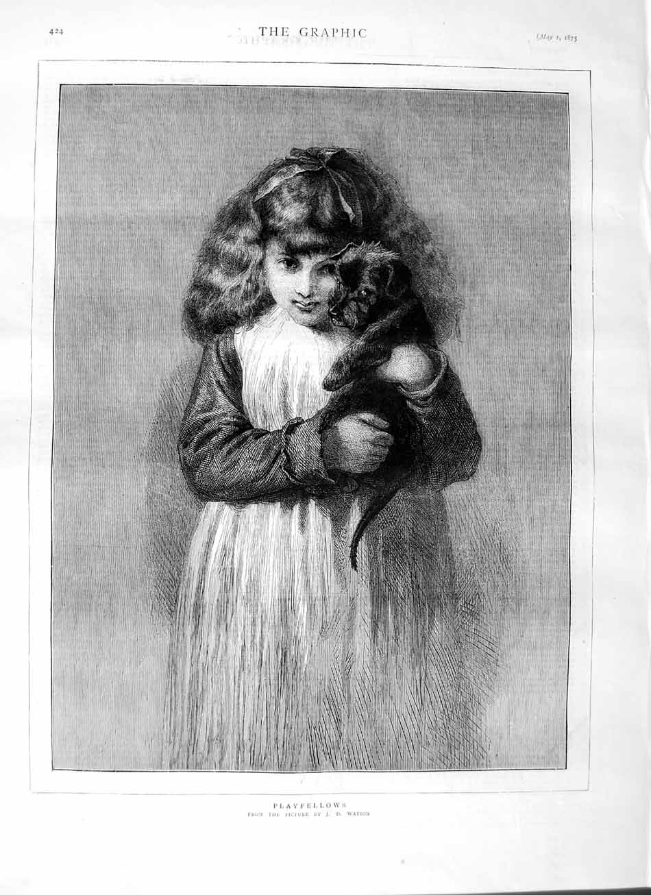 [Print 1875 Fine Art Little Girl Puppy Dog Watson 424M111 Old Original]