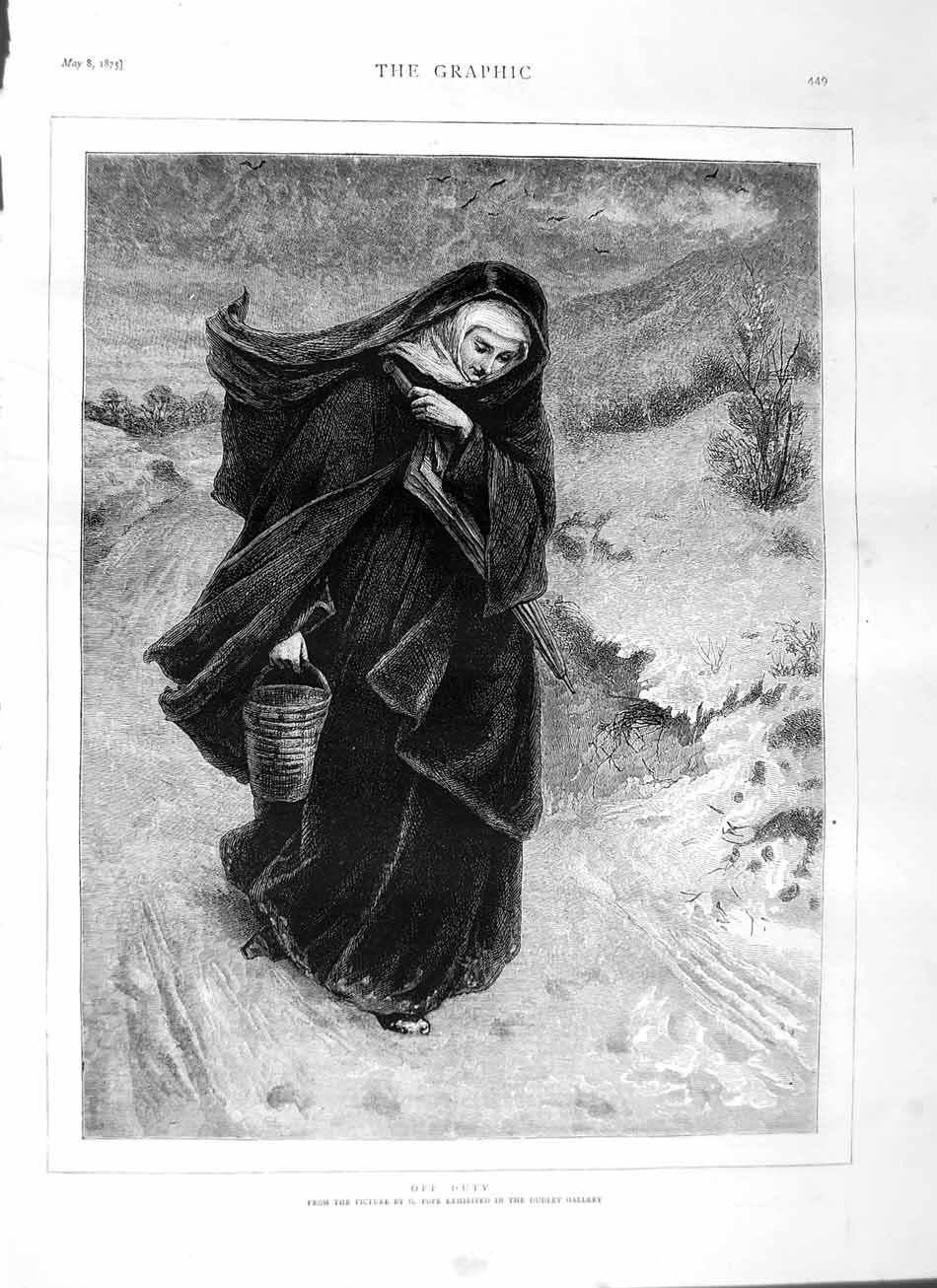 [Print 1875 Pope Dudley Gallery Nun Lady Country 449M111 Old Original]
