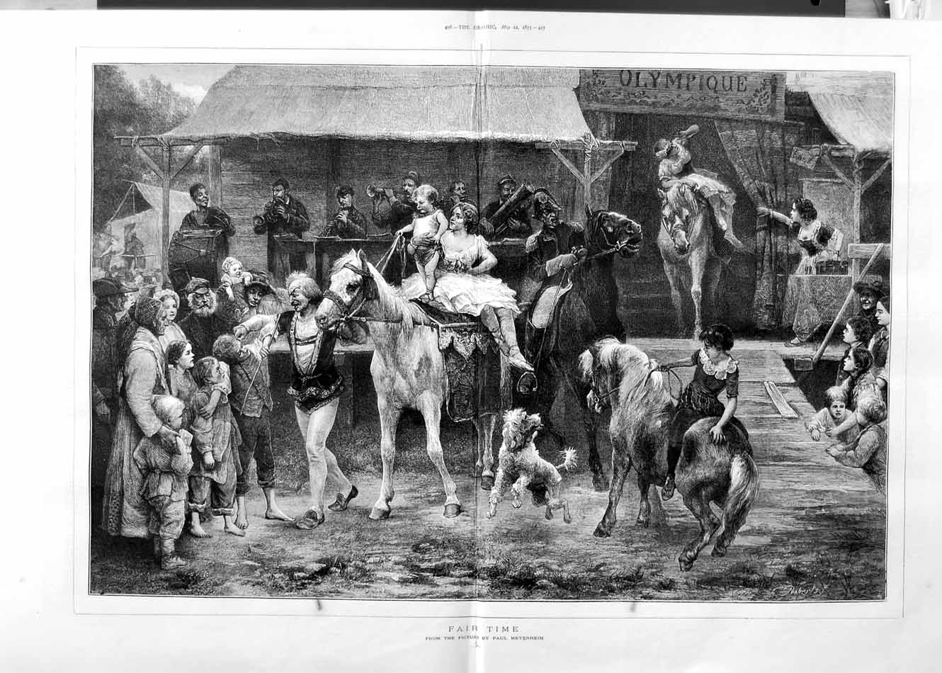 [Print 1875 Fair Children Horses Dog Music Paul Meyerheim Art 495Tm111 Old Original]