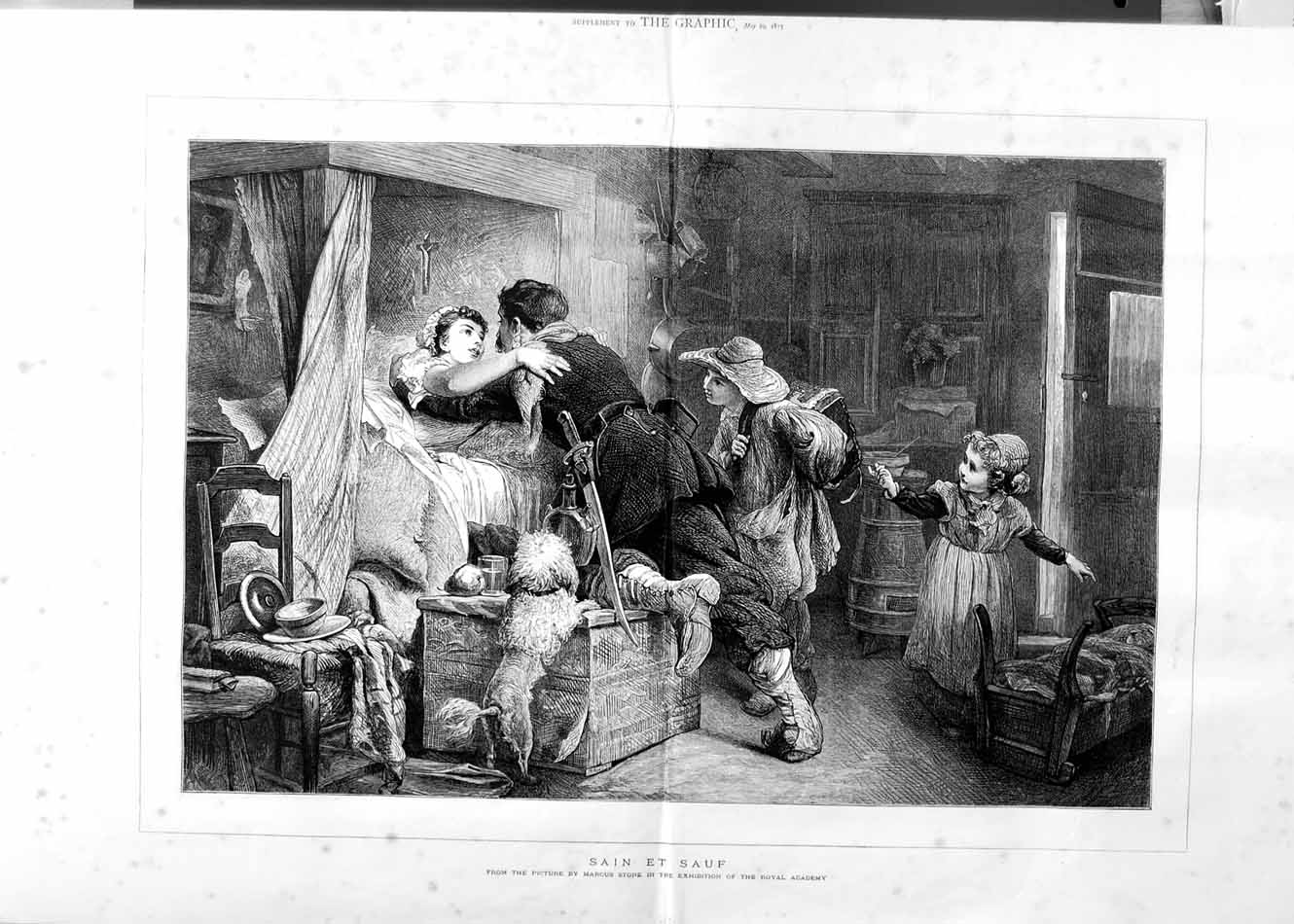 [Print 1875 Family Home Children Soldier War Dog Lady Bed Art 510Tm111 Old Original]