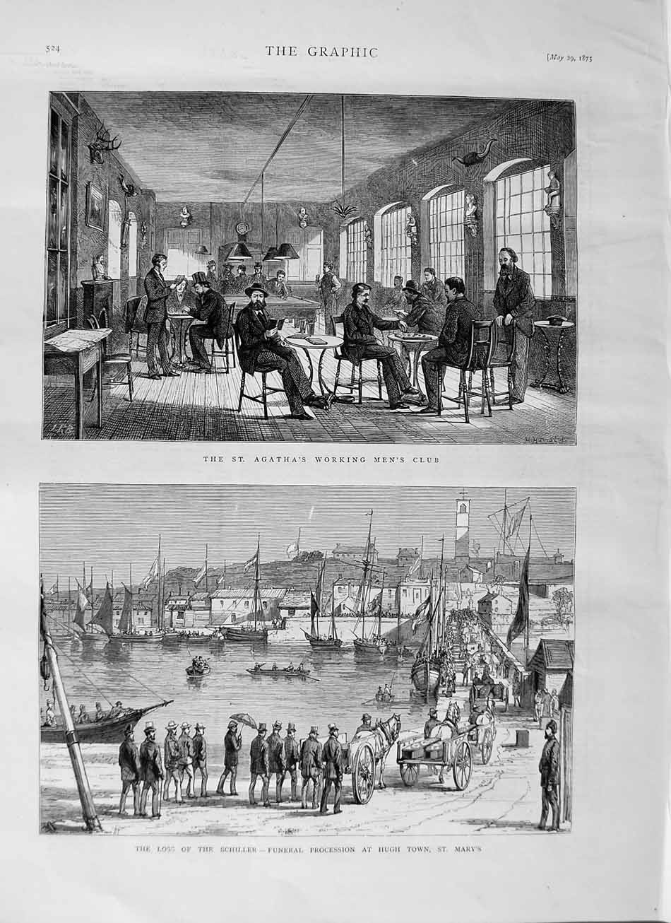 [Print 1875 Agatha Working Mens Club Schiller Funeral Mary'S 524M111 Old Original]
