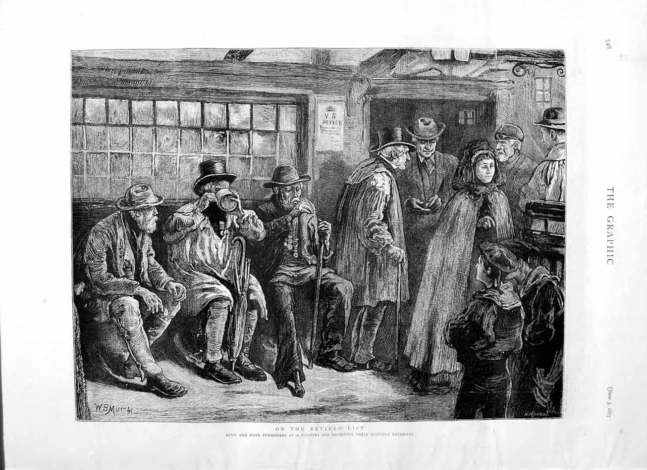 [Print 1875 Army Mavy Pensioners Country Inn People Fine Art 548M111 Old Original]