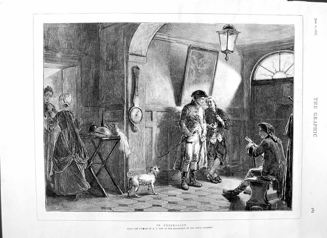 [Print 1875 Art Gow Royal Academy House Dog Servants Man 565M111 Old Original]