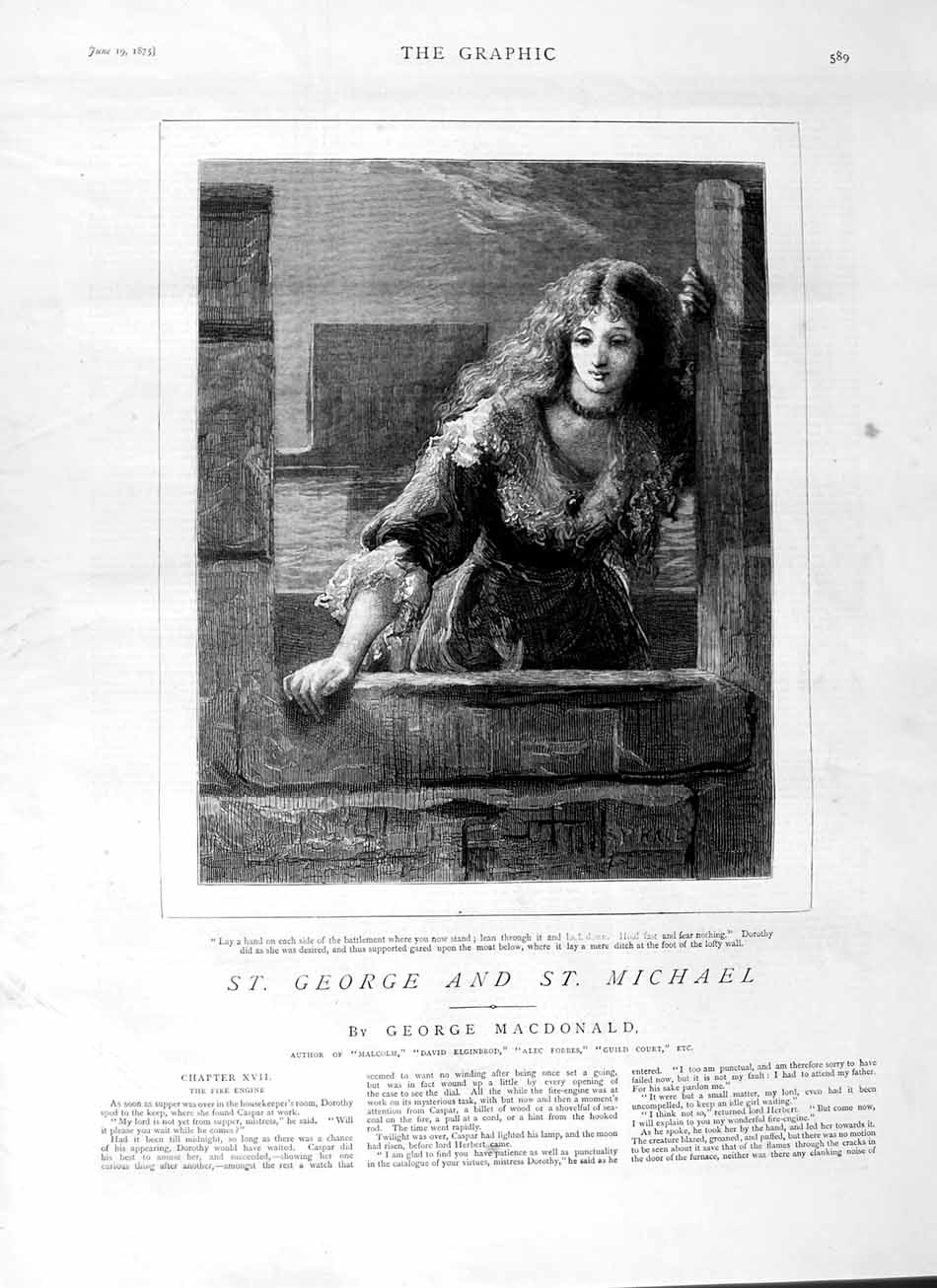 [Print 1875 Story St. George Michael Beautiful Lady Woman 589M111 Old Original]