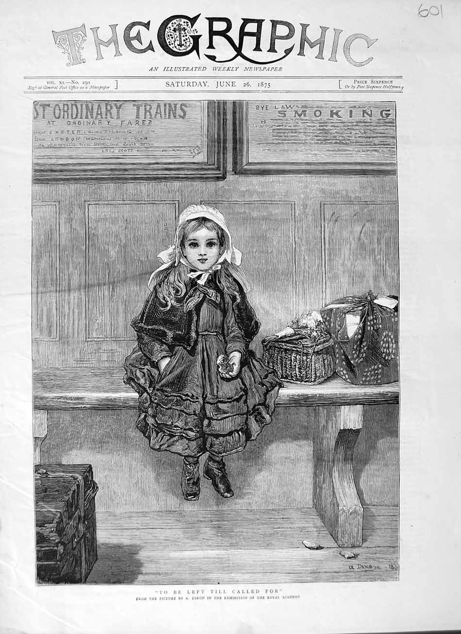 [Print 1875 Art Dixon Royal Academy Little Girl 601M111 Old Original]
