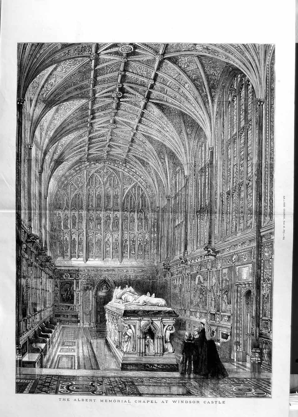 [Print 1875 Albert Memorial Chapel Windsor Castle London Art 607Tm111 Old Original]