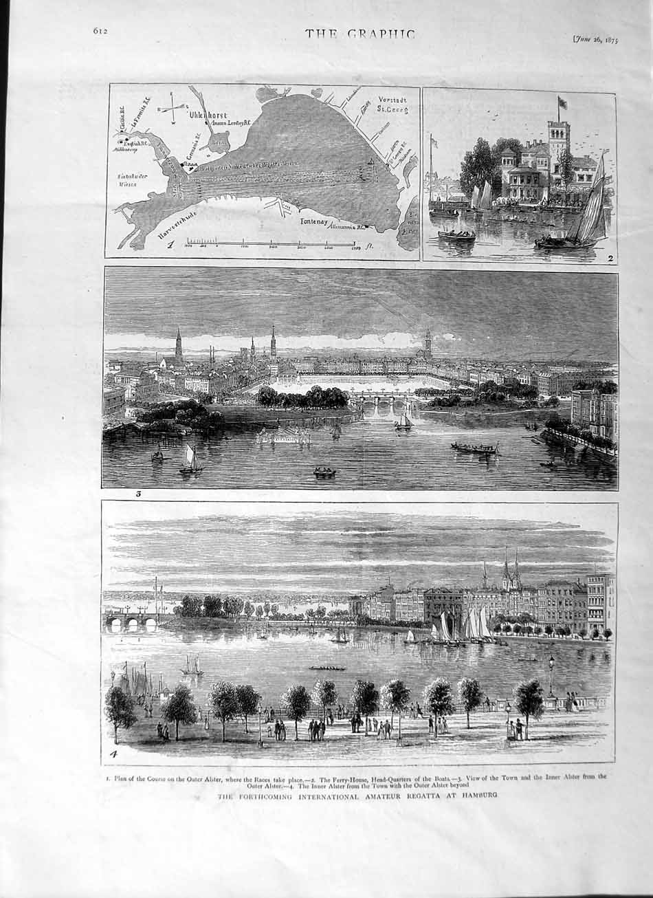 [Print 1875 Regatta Hamburg Germany Boats Alster Map Yachts 612M111 Old Original]