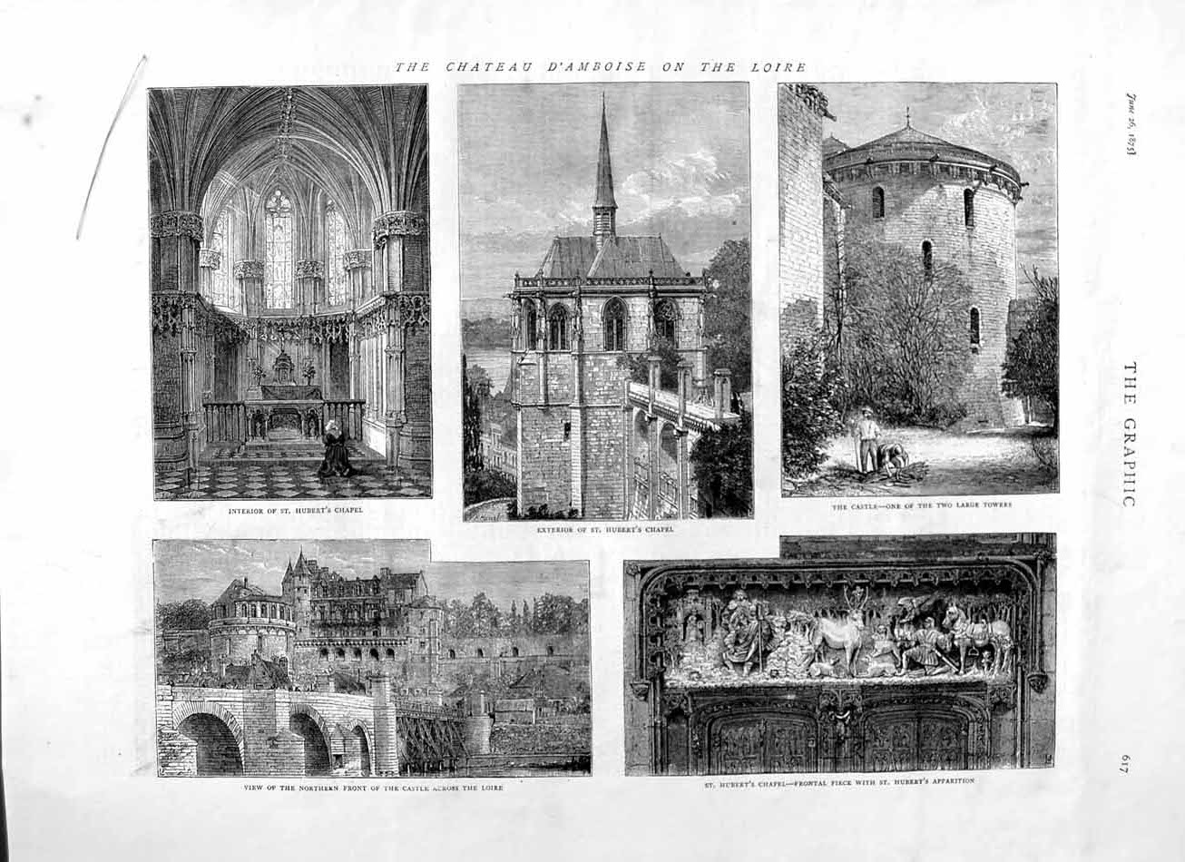 [Print 1875 Chateau D'Amboise Loire France Hubert Chapel 617M111 Old Original]