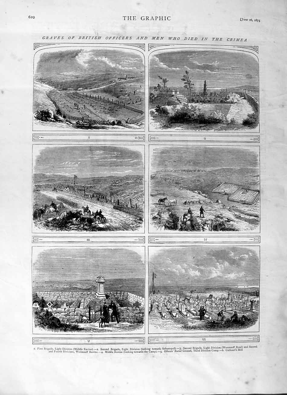 [Print 1875 Graves Crimea War British Officers Soldiers 620M111 Old Original]