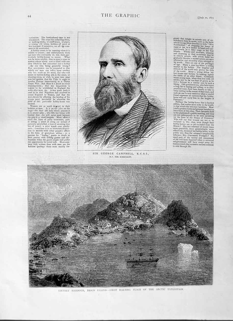 [Print 1875 George Campbell Lievely Harbour Disco Island Ship 044M112 Old Original]
