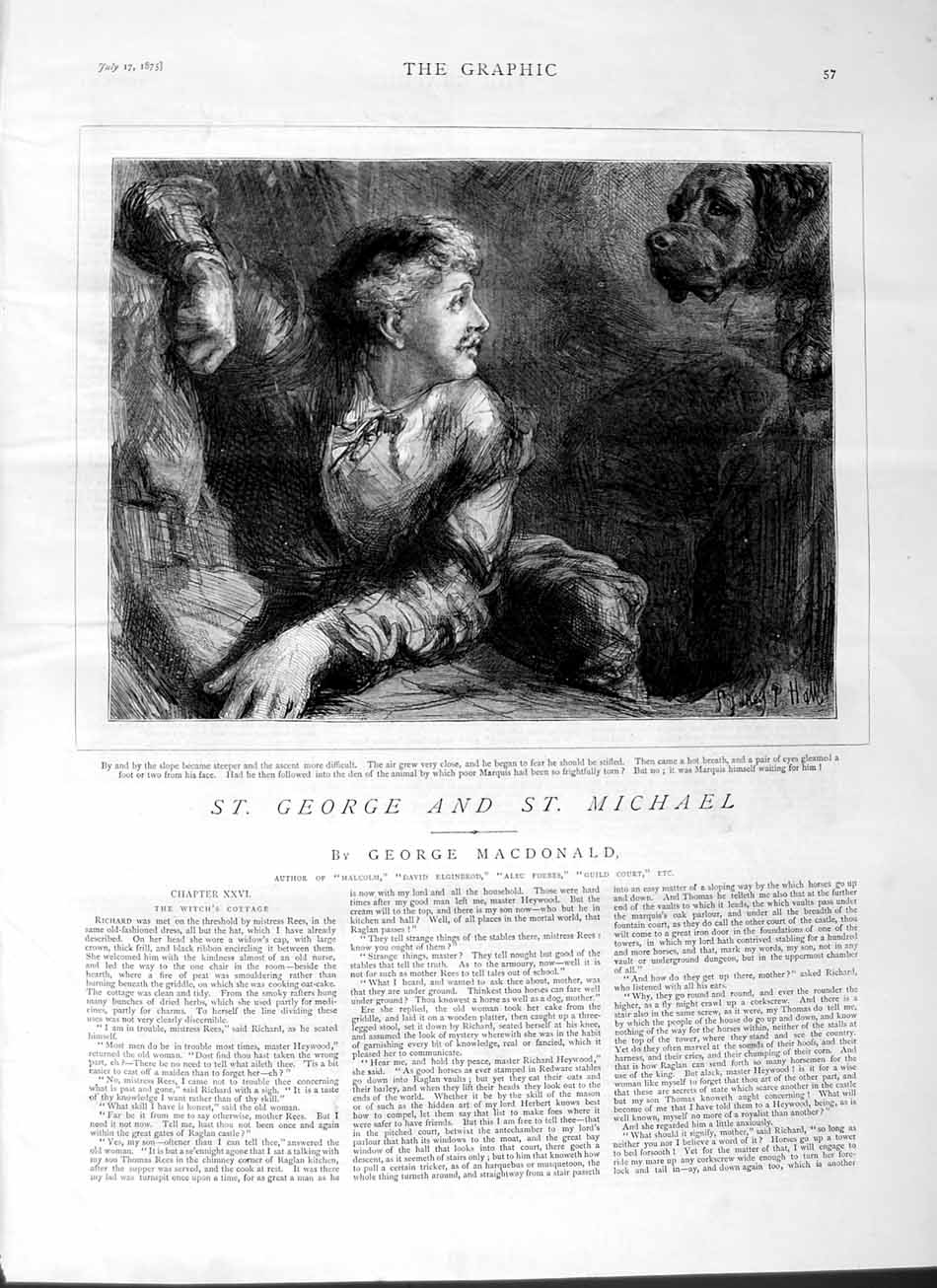 [Print 1875 George Michael Marquis Man Dog 057M112 Old Original]