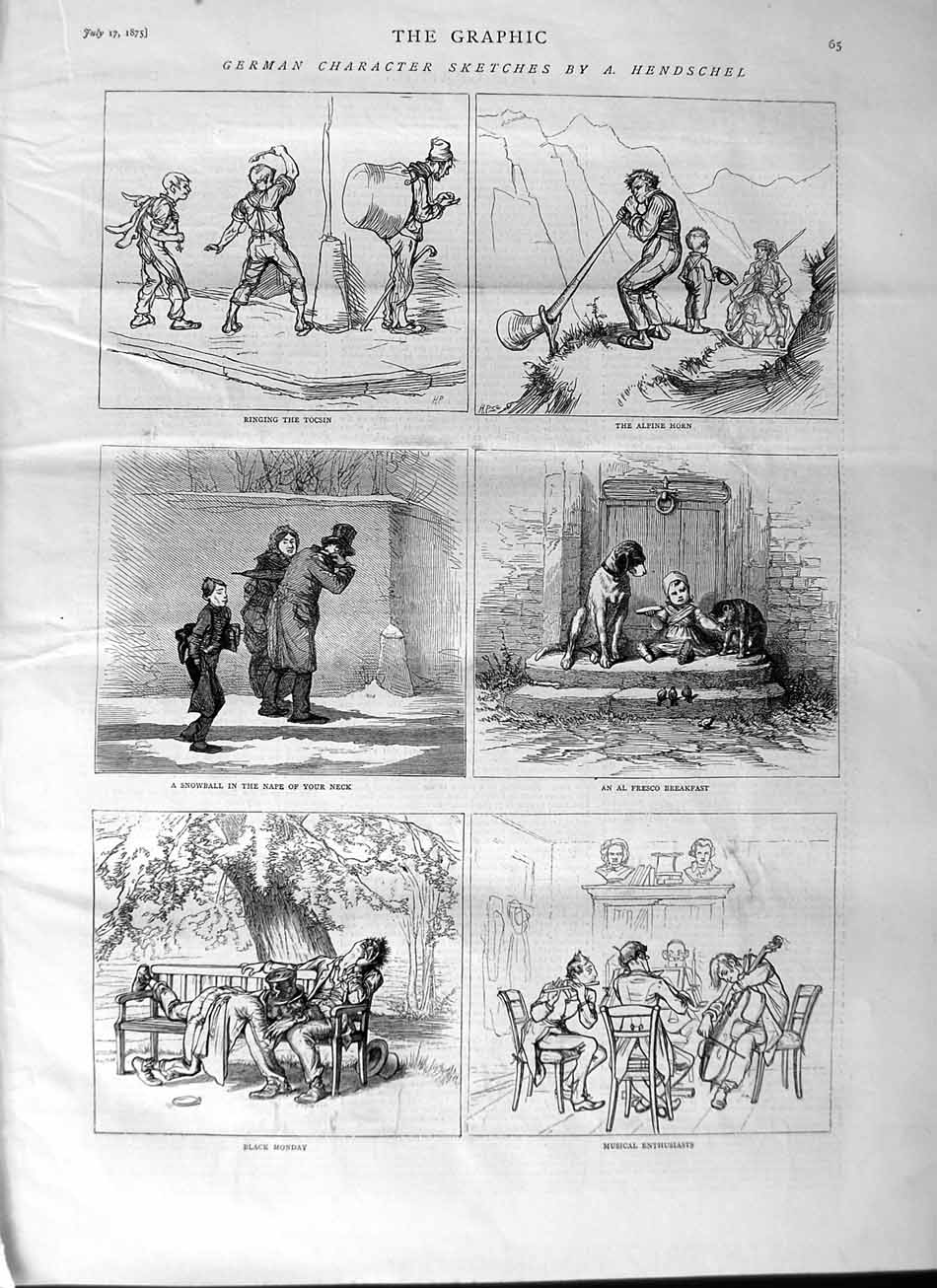 [Print 1875 German Character Sketches Alpine Horn Music Cat 065M112 Old Original]
