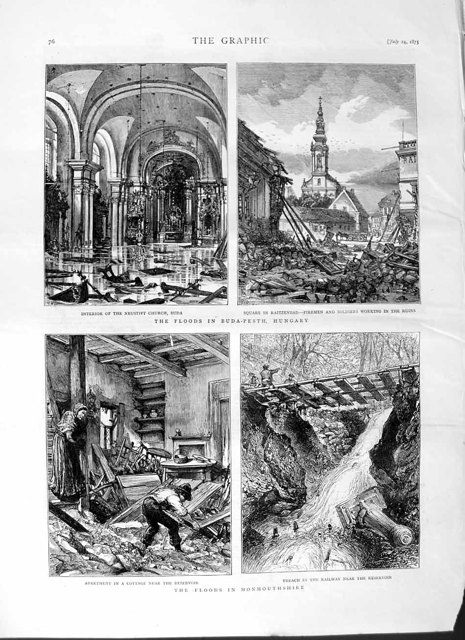 [Print 1875 Flodds Buda-Pesth Hungary Monmouthshire Wales 076M112 Old Original]