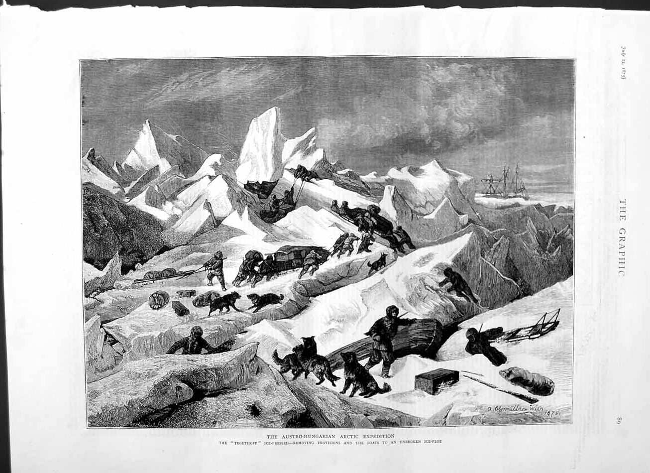 [Print 1875 Austro-Hungarian Arctic Expedition Ship Ice Dogs 089M112 Old Original]