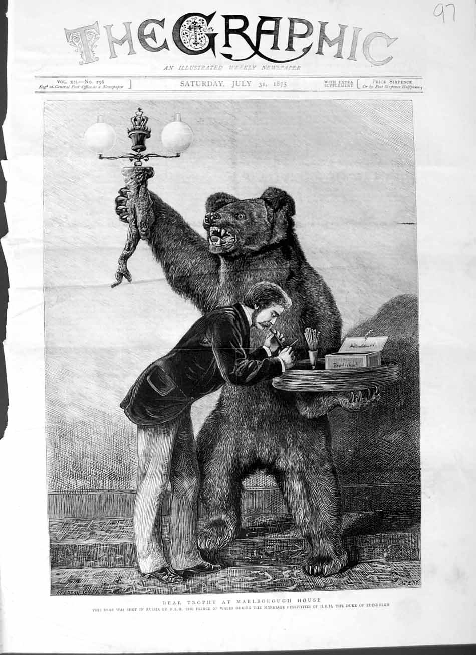 [Print 1875 Bear Trophy Marlborough House Russia Prince Wales 097M112 Old Original]