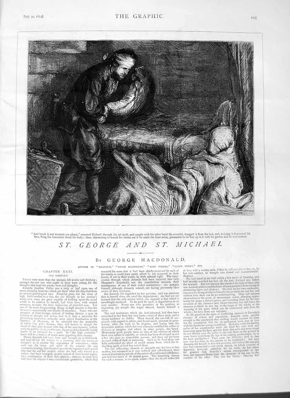 [Print 1875 Richard Bed Man House George Michael 105M112 Old Original]