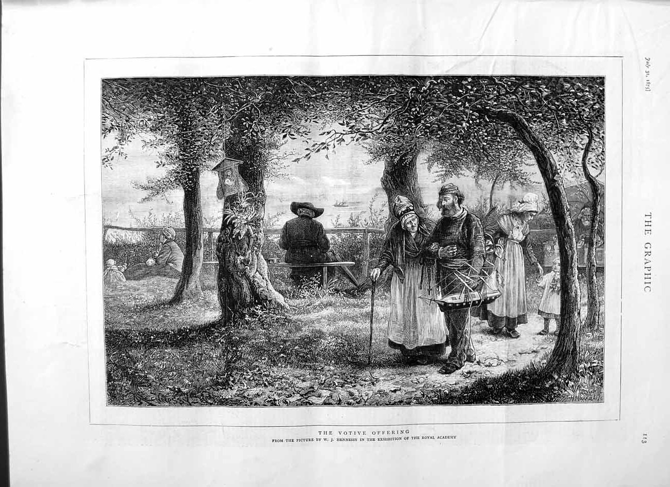 [Print 1875 Votive Offering Man Model Boat Trees Children Men 113M112 Old Original]