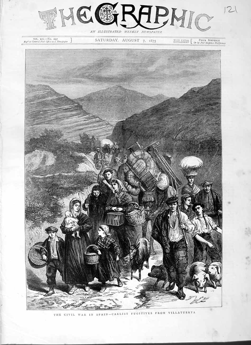 [Print 1875 Civil War Spain Carlist Fugitives Villatuerta Pigs 121M112 Old Original]