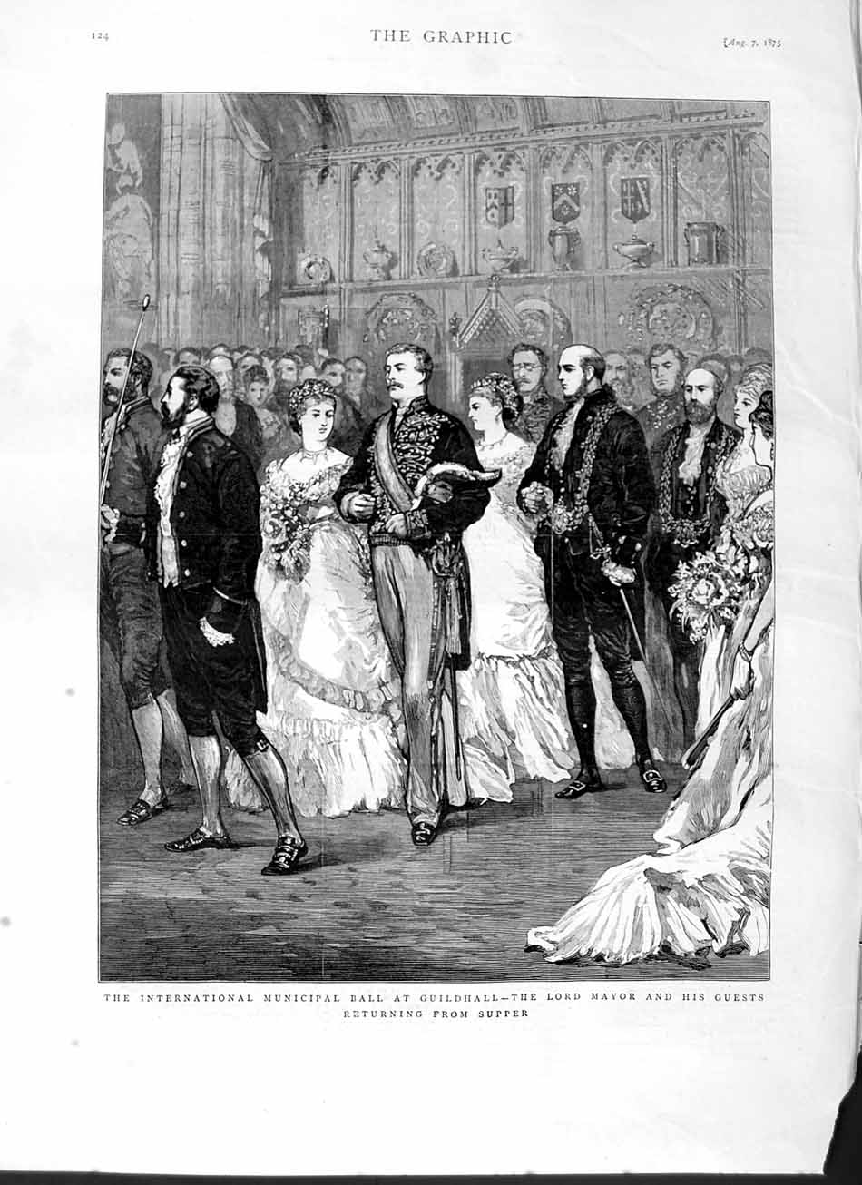 [Print 1875 Municipal Ball Guildhall Lord Mayor Guests Supper 124M112 Old Original]