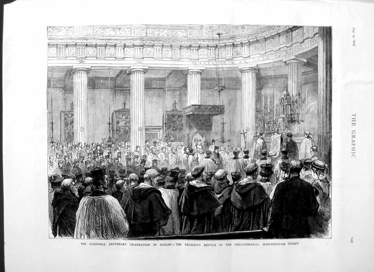 [Print 1875 O'Connell Centenary Dublin Service Pro-Cathedral 149M112 Old Original]