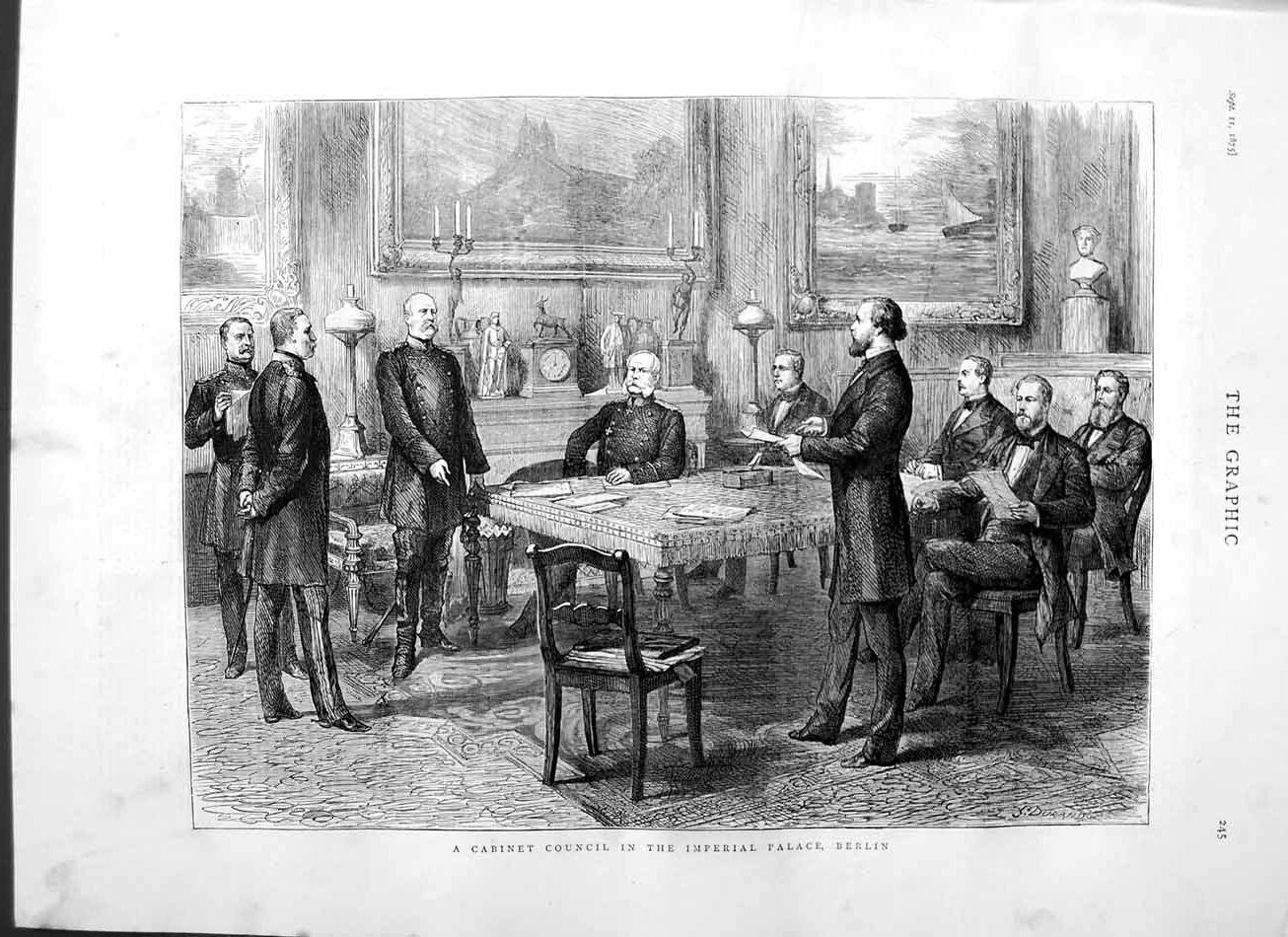 [Print 1875 Cabinet Council Imperial Palace Berlin Germany 245M112 Old Original]