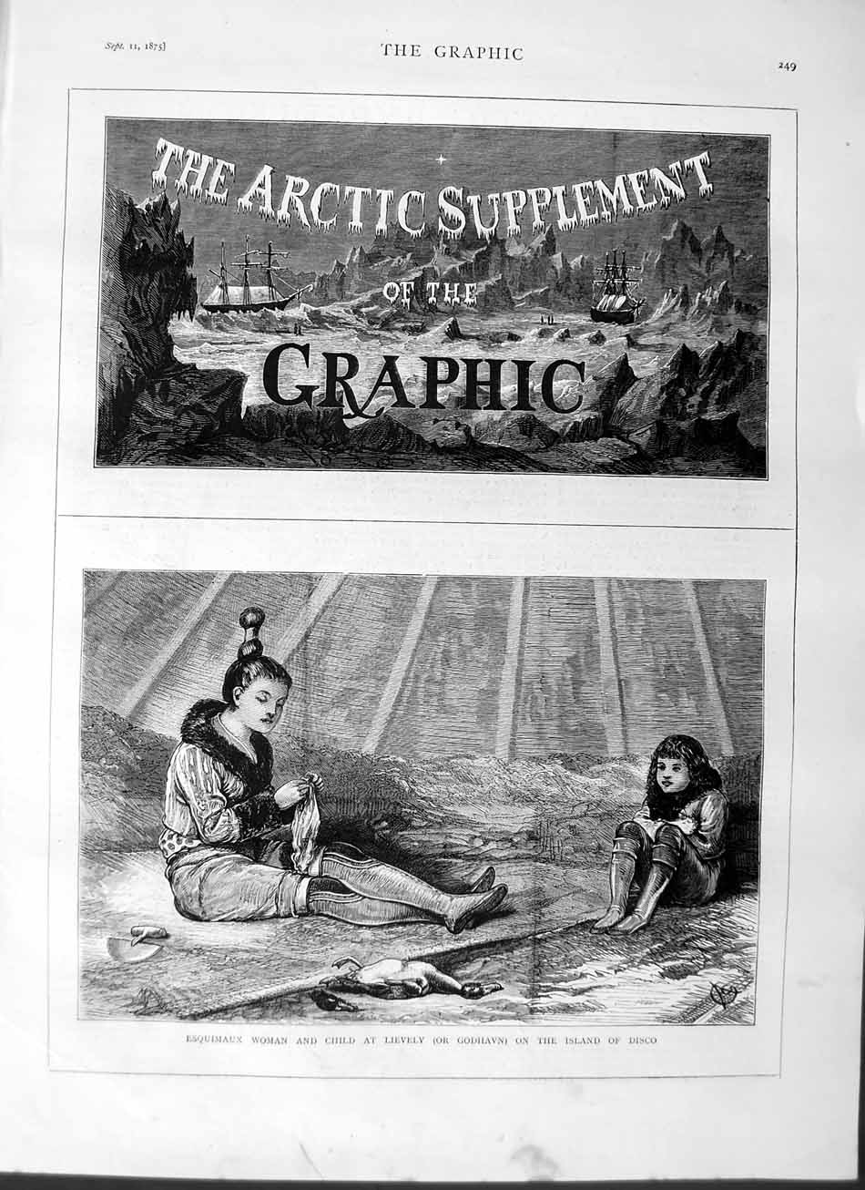 [Print 1875 Esquimaux Lady Child Lievely Godhaven Island Disco 249M112 Old Original]