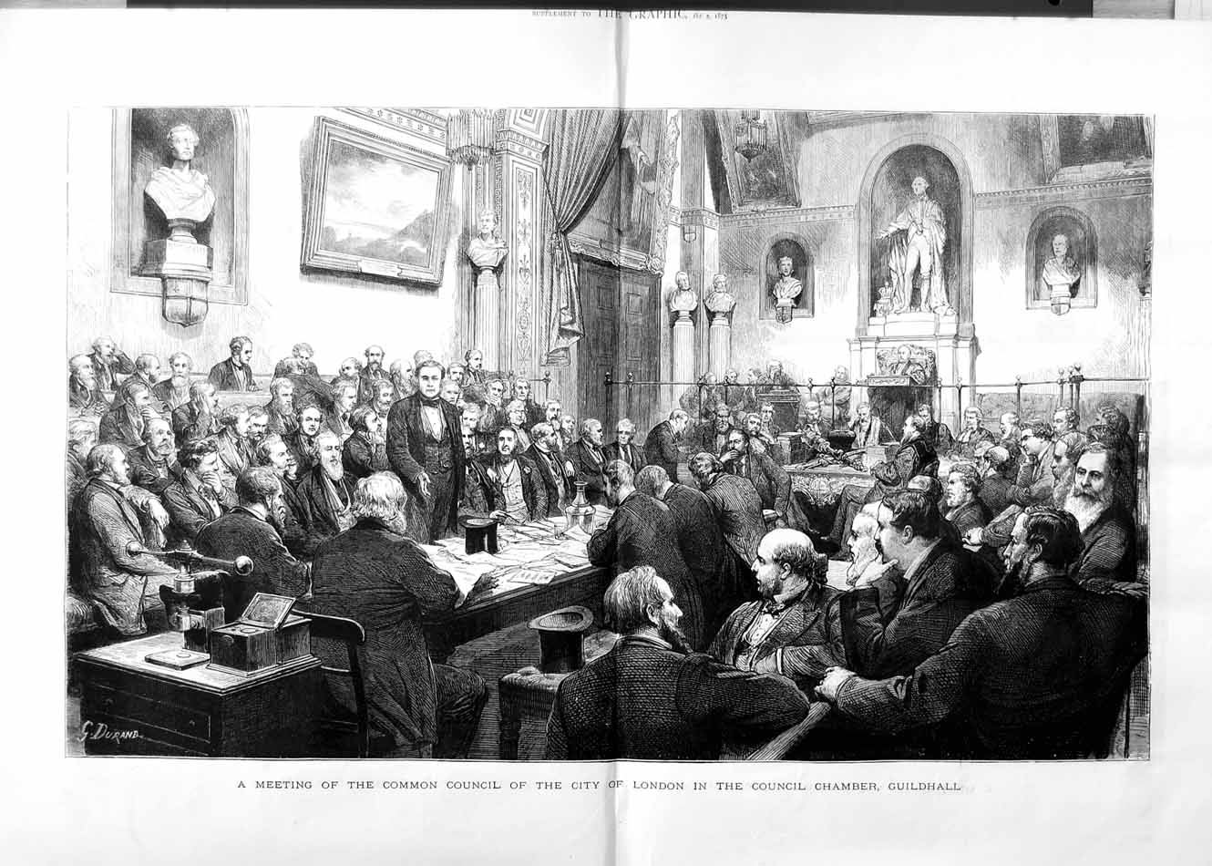 [Print 1875 Council Meeting City London Guildhall Chamber 332Tm112 Old Original]