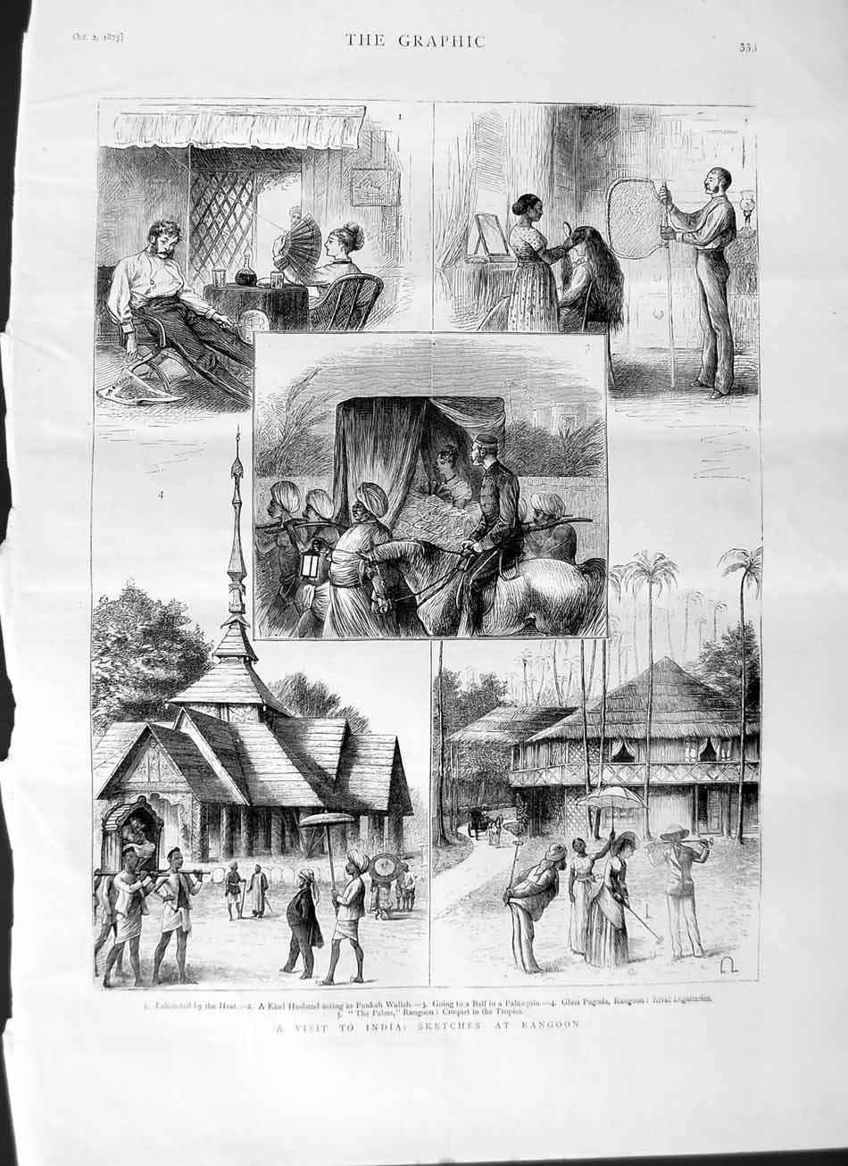 [Print 1875 India Rangoon Punkah Wallah Palanquin Pagoda  Old Original]