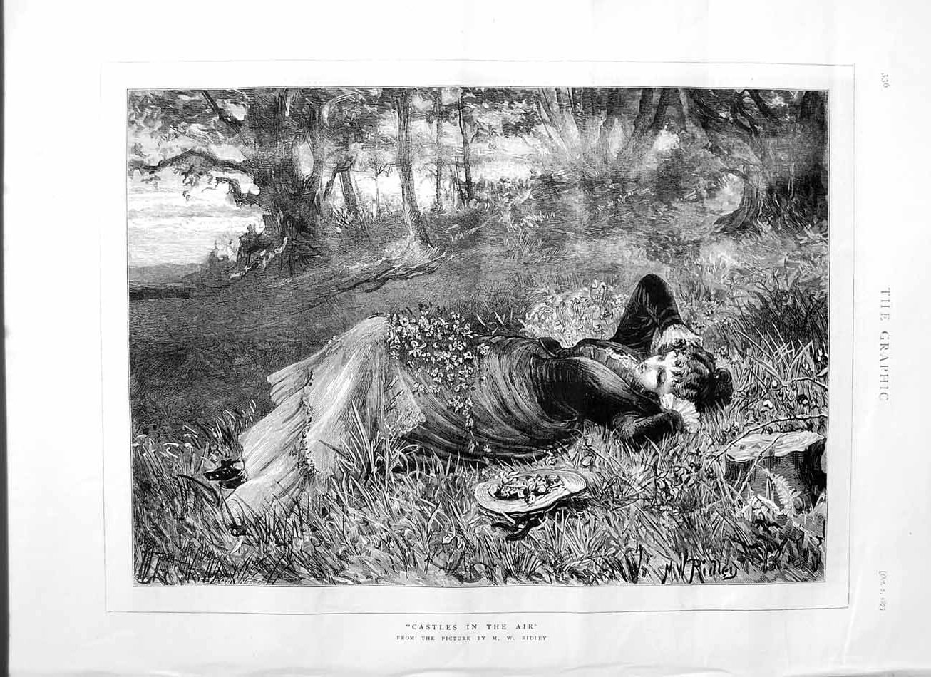 [Print 1875 Ridley Fine Art Beautiful Lady Country Flowers 336M112 Old Original]
