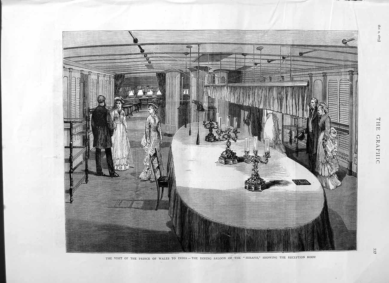 [Print 1875 Prince Wales India Dining Saloon Ship Serapis 337M112 Old Original]