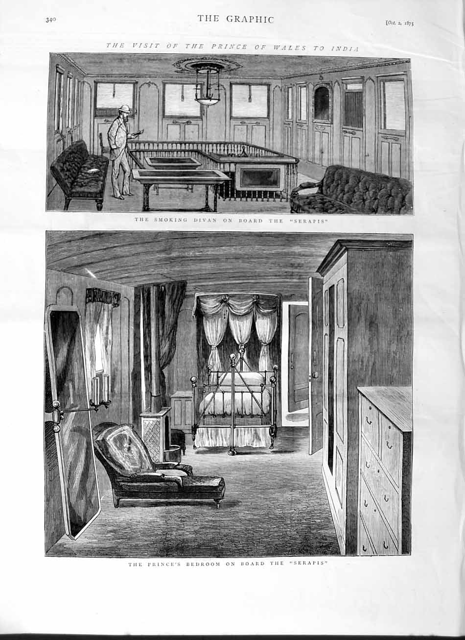 [Print 1875 Prince Wales Serapis Ship Bedroom Smoking Divan 340M112 Old Original]