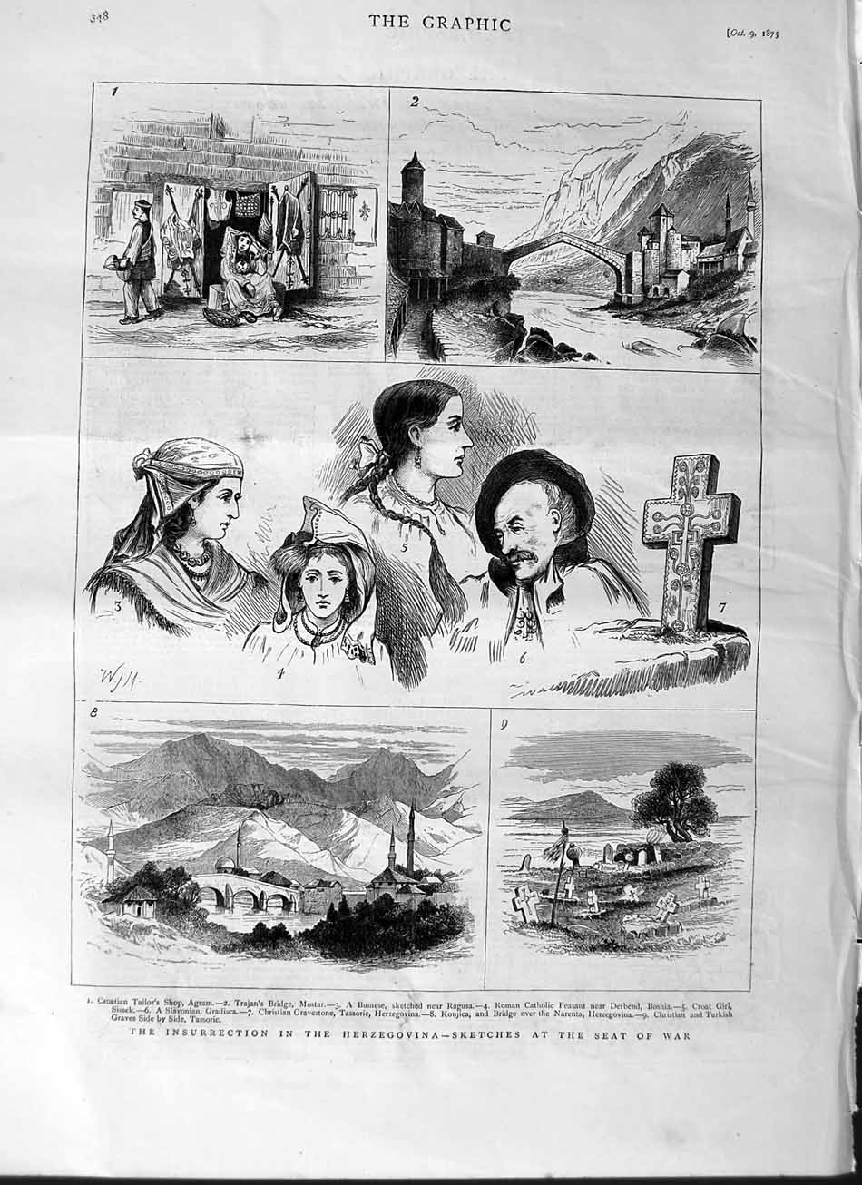 [Print 1875 Insurrection Herzegovina War Ragusa Bosnia Konjica 348M112 Old Original]