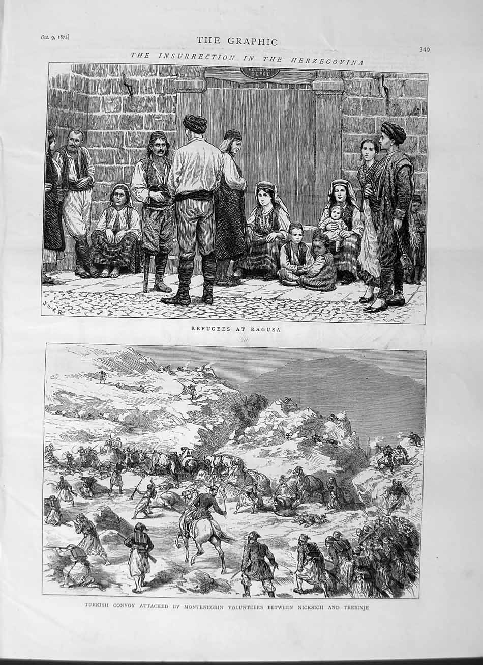 [Print 1875 Herzegovina Refugees Ragusa Turkish Army Trebinje 349M112 Old Original]
