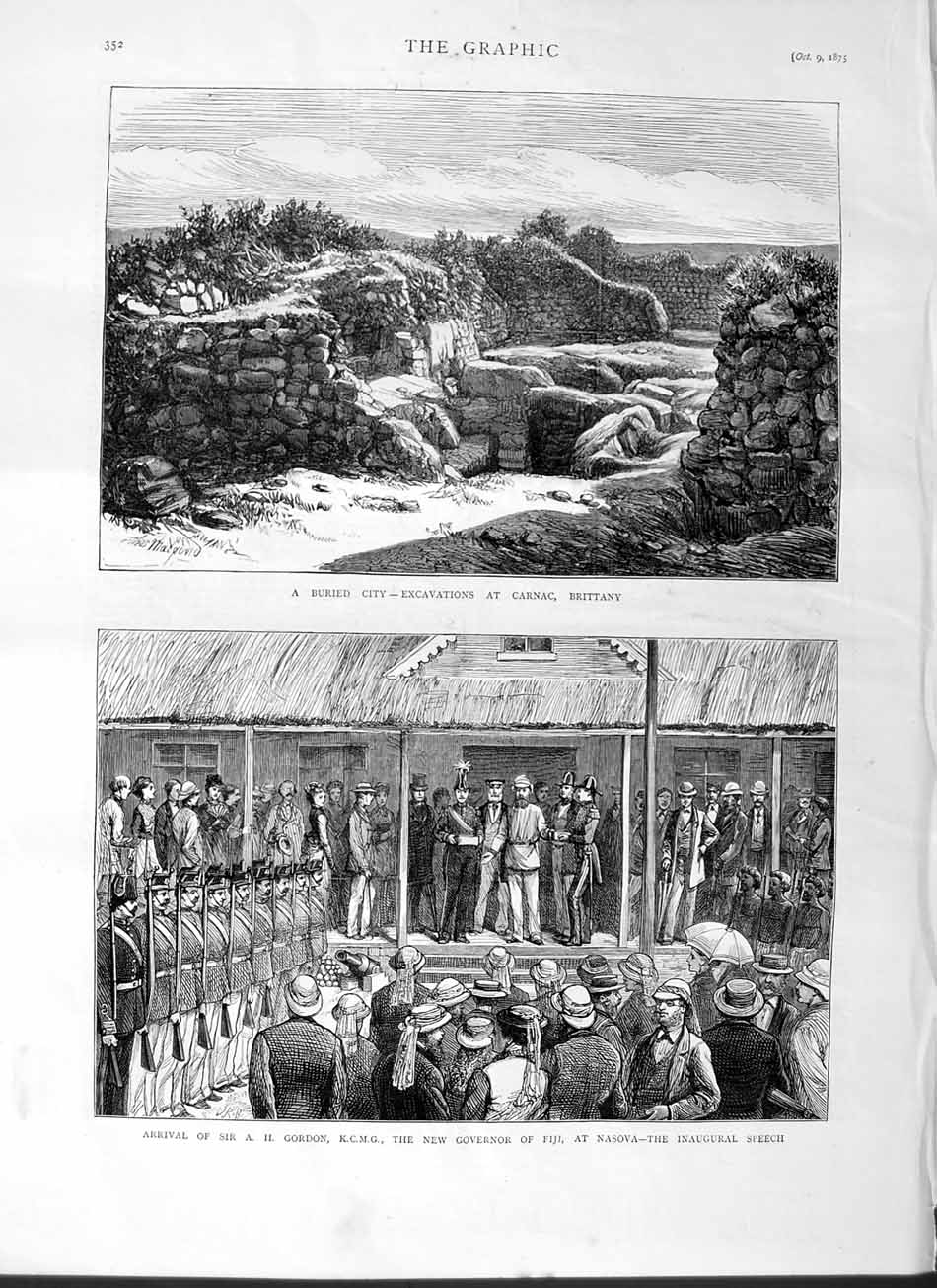 [Print 1875 Excavations Carnac Brittany France Gordon Fiji  Old Original]