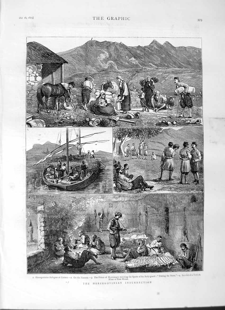 [Print 1875 Herzegovinian Insurrection Cattaro Narenta Khan 373M112 Old Original]