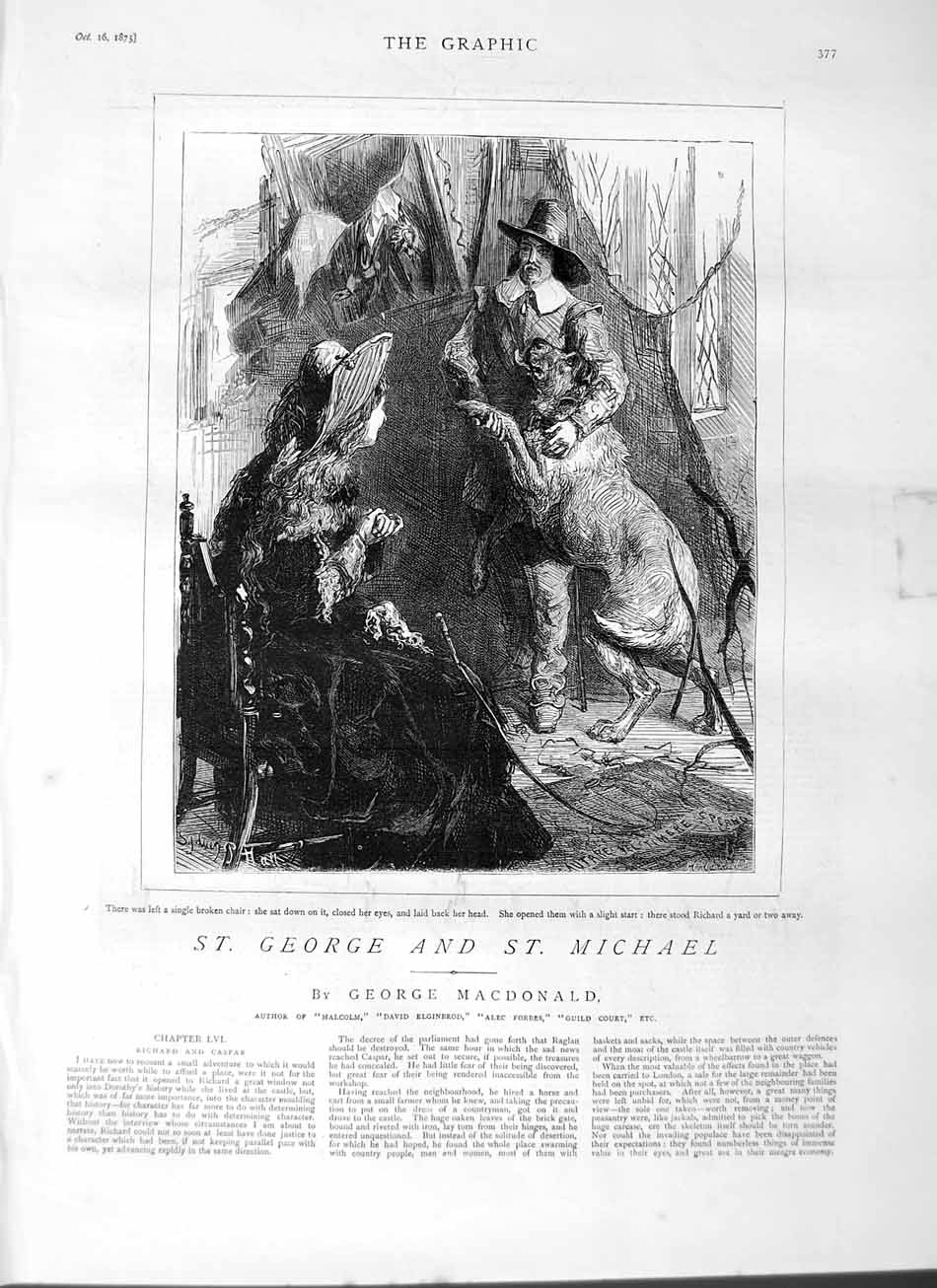 [Print 1875 Richard Big Dog Lady Man House 377M112 Old Original]