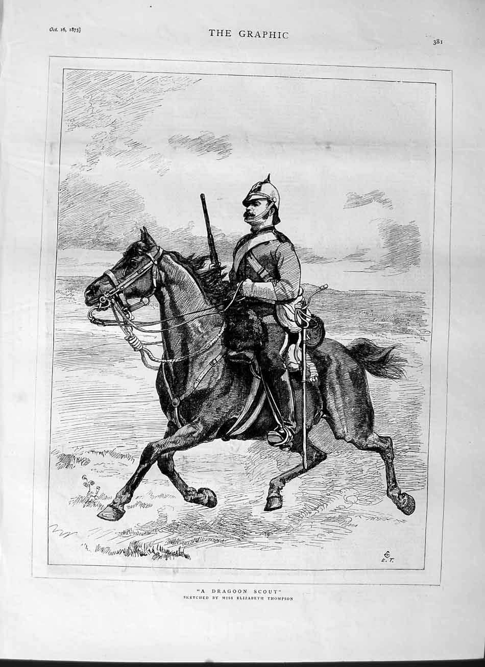 [Print 1875 Dragoon Scout Soldier Man Horse War Thompson 381M112 Old Original]