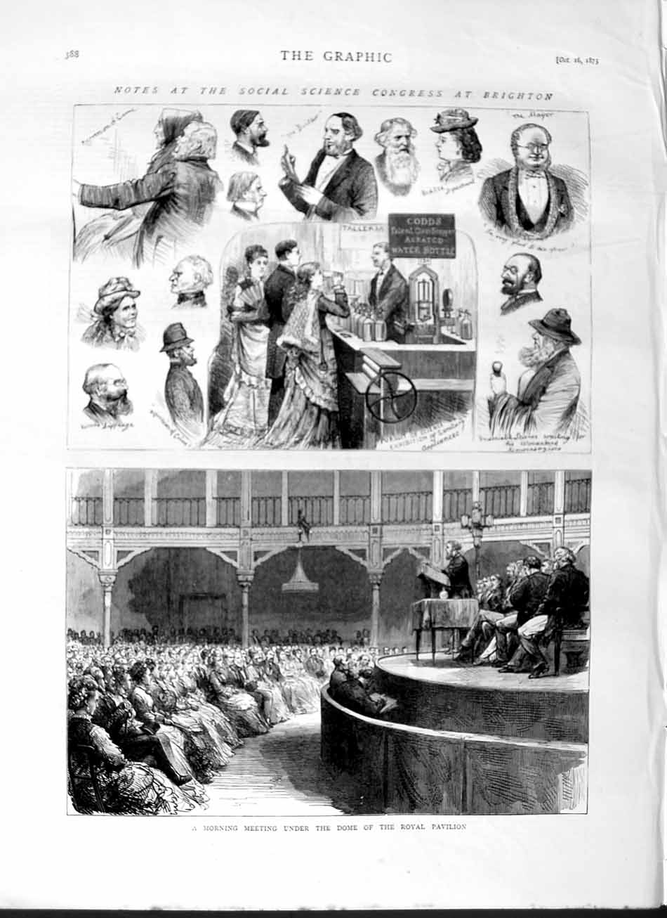 [Print 1875 Science Congress Brighton Dome Royal Pavilion 388M112 Old Original]