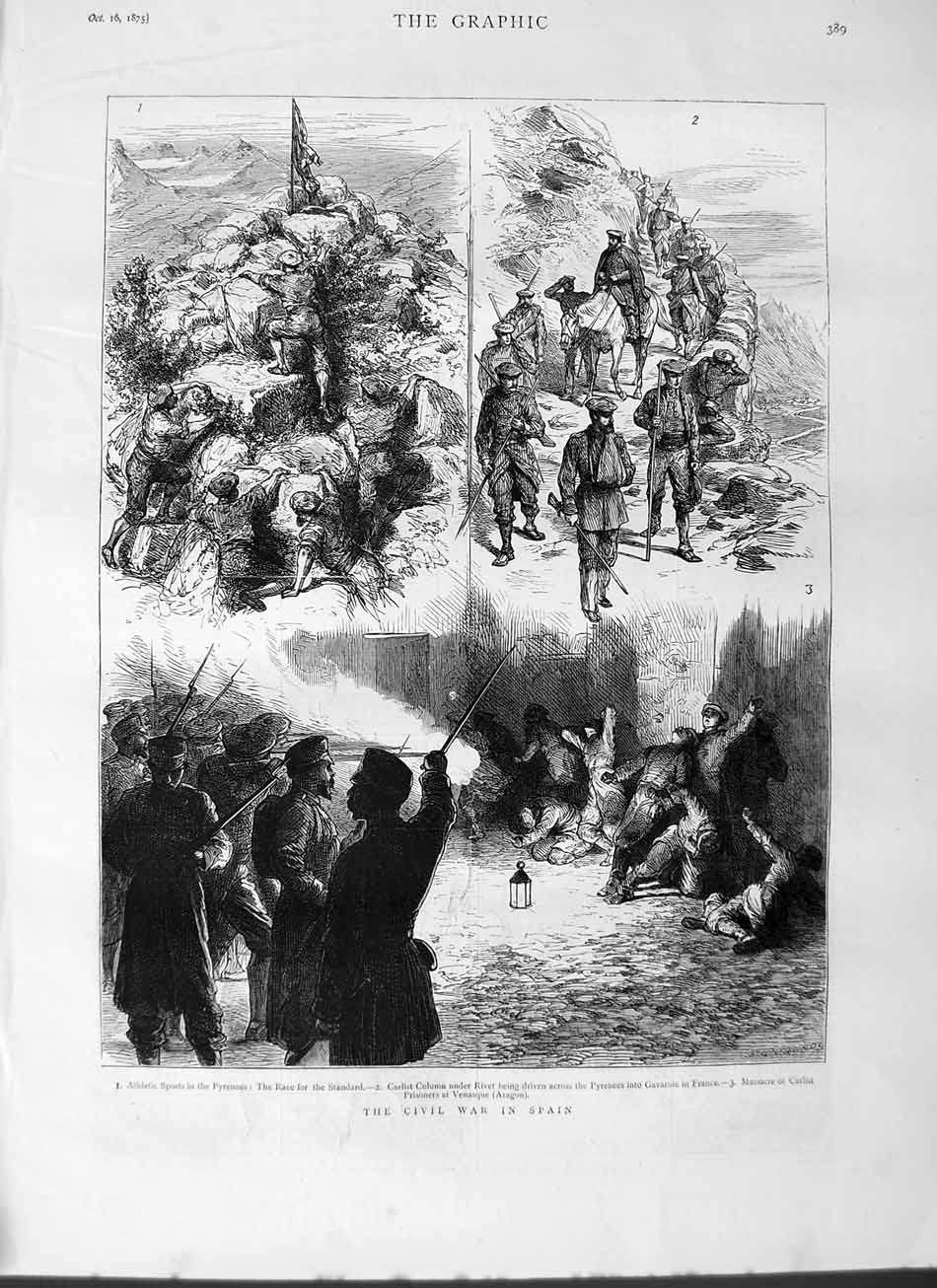 [Print 1875 Civil War Spain Athletic Sports Pyrenees Carlist  Old Original]