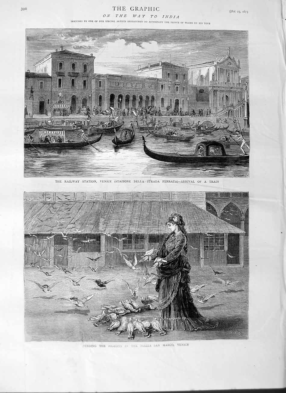 [Print 1875 Railway Station Venice Train Pigeons Piazza Marco 396M112 Old Original]